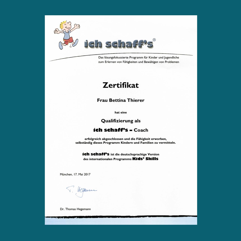 """Bettina Thierer Zertifikat """"ich schaff´s"""""""